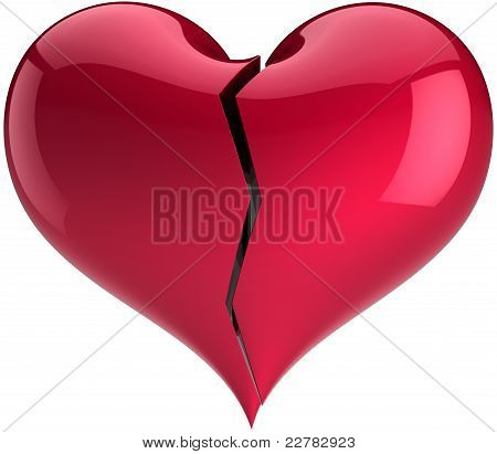 Broken heart shape total red divorce concept