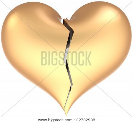 Love Heart shape broken with crack colored matte golden