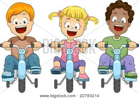 Illustration of Kids Biking