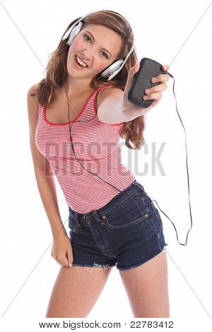 Teenage Girl Dances To Music From Mobile Phone