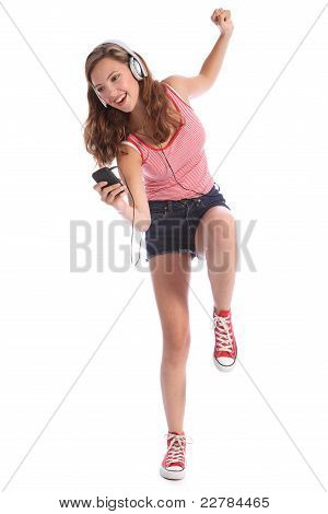 Fun Teenage Girl Dancing With Energy To Music