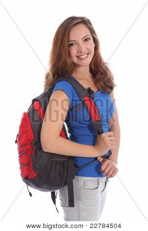 Teenage School Girl With Rucksack And Happy Smile