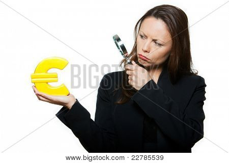 Portrait of beautiful worried expressive woman surveying euro in studio isolated on white background