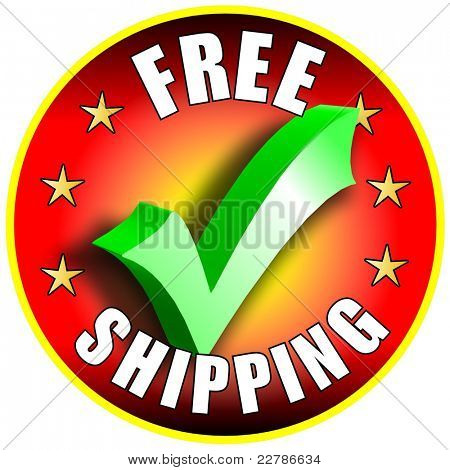 Free Shipping button/label - red version