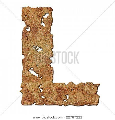 Letras oxidado con borde rasgado aislado sobre fondo blanco (serie).