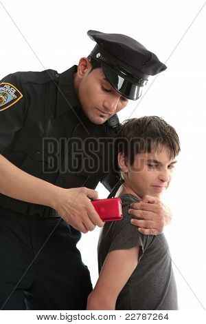 Police Officer With Teen  Uvenile Delinquent