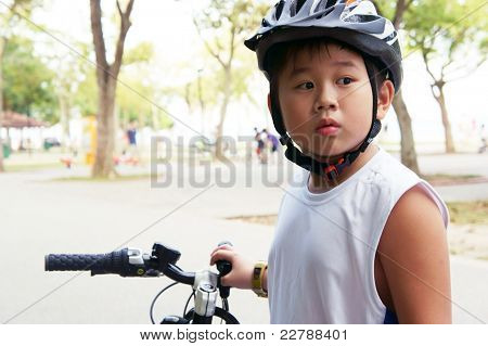 Cycling Boy Looking Shock