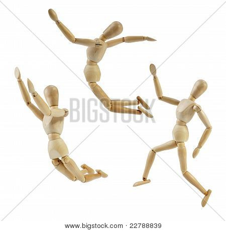 Artist Mannequin in jump poses