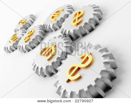 Rotating metal gear wheels with symbols of dollar and euro