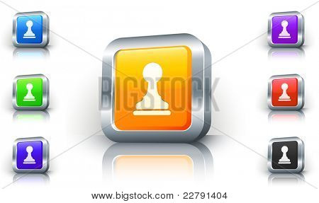 Pawn Icon on 3D Button with Metallic Rim Original Illustration