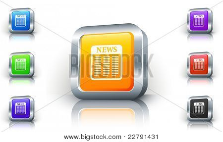 Newspaper Icon on 3D Button with Metallic Rim Original Illustration