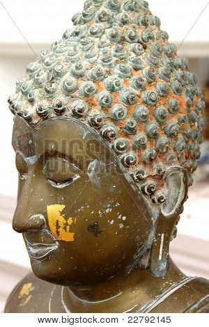 Traditional Thai Style Texture On Face And Head Of The Buddha Image