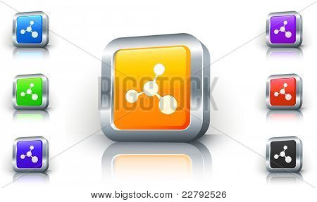 Molecule Icon on 3D Button with Metallic Rim Original Illustration