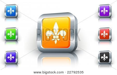 Fleur De Lis Icon on 3D Button with Metallic Rim Original Illustration