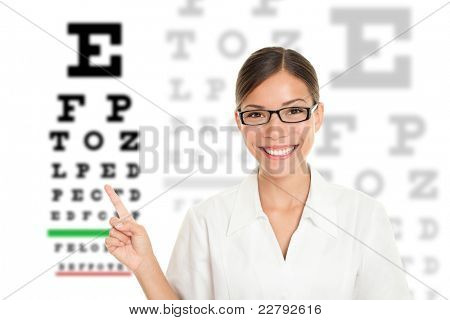 Optician or optometrist pointing at Snellen eye exam chart. Woman eye doctor wearing glasses on white background. Female Caucasian / Asian model.