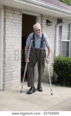Elderly Man On Crutches