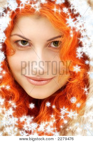 Lovely Redhead In Fur With Snowflakes