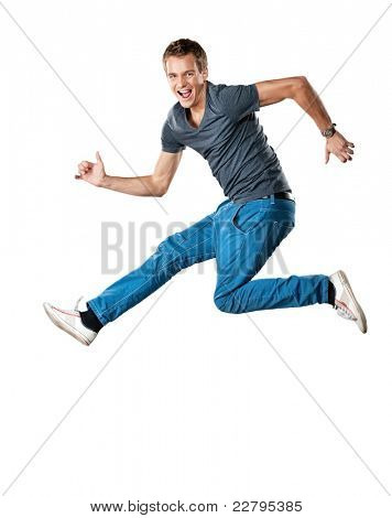 Handsome man jumping.