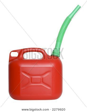 Fuel Can With Funnel On White