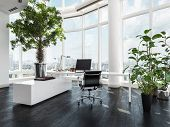 Modern luxury office interior in a pent house with curved white walls and windows overlooking a city poster