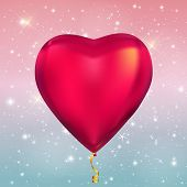 Heart Shape Colour Glossy Helium Balloons On Glossy Sky  Background. Vector Illustration Eps10 poster