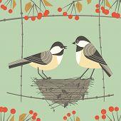 Chickadee Bird Couple. Cute Comic Cartoon. Birds Sitting In Straw Nest. Minimalism Simplicity Wildli poster