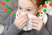 Portrait of child blowing nose in bed, illness concept. Sick kid girl. Flu virus season.  Nose cold. poster