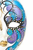 picture of mardi-gras  - Half venetian mask isolated on white. Artistic painted ceramics