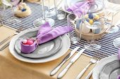 Beautiful festive Easter table setting poster