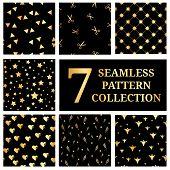 Постер, плакат: Set Of 7 Gold Seamless Pattern Collection Gold Star Seamless Pattern Triangles Seamless Gold Hear