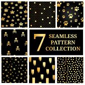 Постер, плакат: Set Of 7 Gold Seamless Pattern Collection Gold Dog Paw Print Seamless Seamless Pattern With Gold S