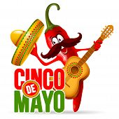 Cinco De Mayo Design With Lettering, And Cheerful Red Pepper Jalapeno Mariachi In Sombrero And With  poster