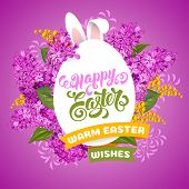 Easter Greeting Cute Design With Spring Flowers Mimosa And Lilac, Rabbit Ears And Calligraphy Inscri poster