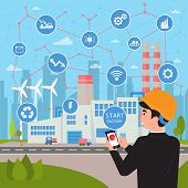Smart Factory. Internet Of Things And Big Data Concept. Businessman With Phone In His Hands Starts A poster