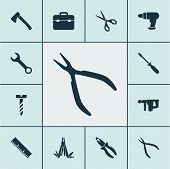 Tools Icons Set With Multi Tool, Electric Instrument, Pliers And Other Round Pliers Elements. Isolat poster