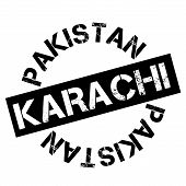 Karachi Typographic Stamp. Typographic Sign, Badge Or Logo poster