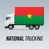 Symbol Of National Delivery Truck With Flag Of Burkina Faso. National Trucking Icon And Flag Design poster
