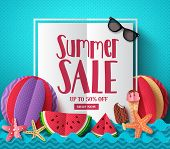 Summer Sale Vector Banner Template With White Space For Text And Colorful Paper Cut Beach Elements F poster