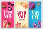 Summer Sale Vector Poster Design Set With Sale Text And Beach Paper Cut Elements In Colorful Pattern poster