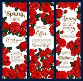 Spring Time Or Mother Day Greeting Banners Of Flowers For Springtime Holiday Season Celebration. Vec poster