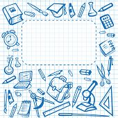 School Poster Of Education Stationery Supplies Book, Pencil Or Pen And Ruler, Computer Or Microscope poster