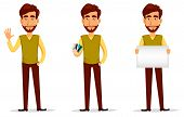Business Man With Beard, Cartoon Character Set. Young Handsome Businessman In Smart Casual Clothes W poster