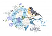Vector Composition With Blue Hydrangea, Tulip Flowers, Ribbon And Bird On White. Floral Design For C poster