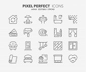 Thin Line Icons Set Of Decoration And Interior Design. Outline Symbol Collection. Editable Vector St poster