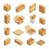 Parcel Packaging Box Icons Set. Isometric Illustration Of 16 Parcel Packaging Box Vector Icons For W poster
