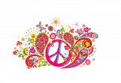 T-shirt fashion design with colorful print with hippie peace symbol, abstract flowers, mushrooms, bu poster