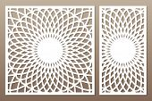 Template For Cutting. Flower, Geometric Pattern. Laser Cut. Set Ratio 1:1, 1:2. Vector Illustration. poster