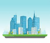 City Buildings Vector Illustration. Small Building, Big Skyscrapers And Large City Tall Skyscrapers  poster