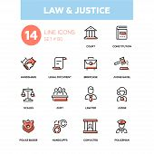 Law And Justice - Line Design Icons Set. High Quality Pictogram. Court, Constitution, Handshake, Leg poster