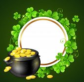 Pot Of Gold And Clover Leaves poster